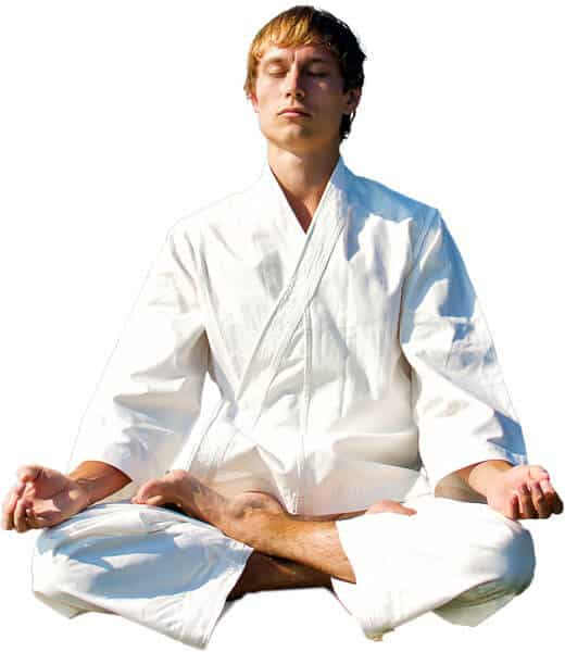 Martial Arts Lessons for Adults in Woburn MA - Young Man Thinking and Meditating in White