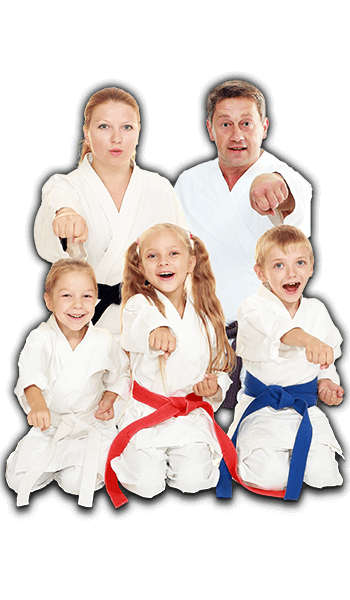 Martial Arts Lessons for Families in Woburn MA - Sitting Group Family Banner