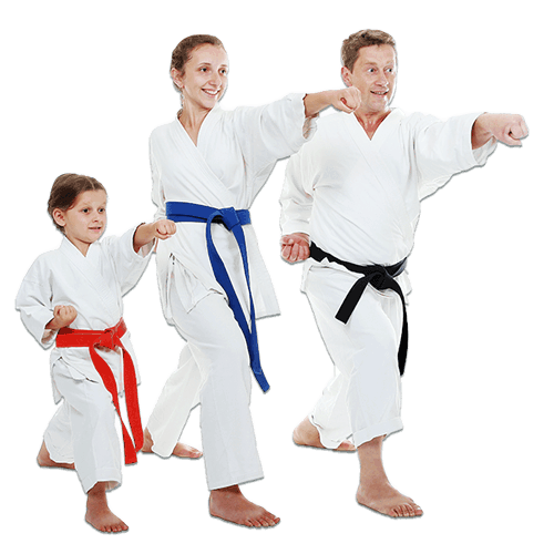 Martial Arts Lessons for Families in Woburn MA - Man and Daughters Family Punching Together