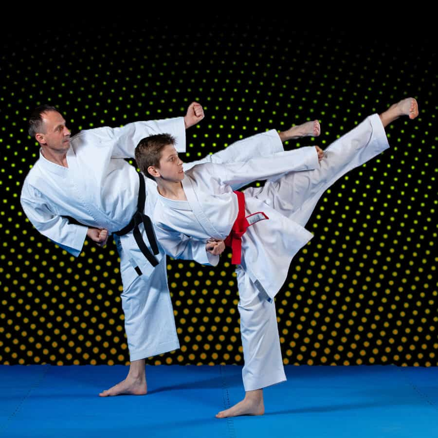Martial Arts Lessons for Families in Woburn MA - Dad and Son High Kick