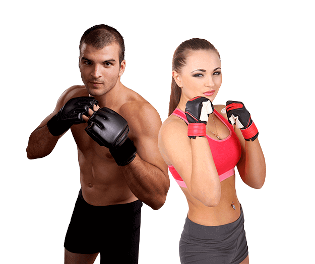 Mixed Martial Arts Lessons for Adults in Woburn MA - Hands up Fitness MMA Man and Woman Footer Banner